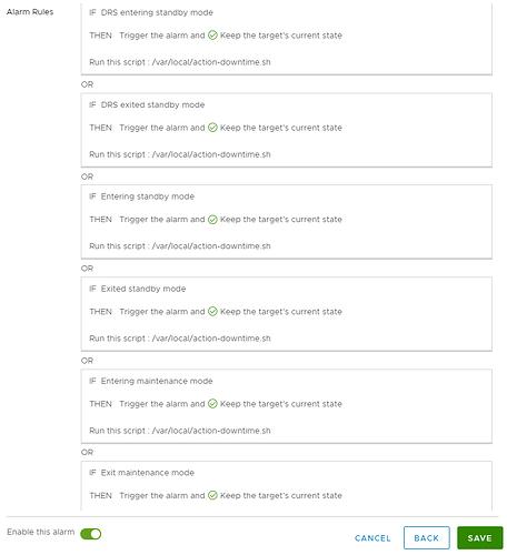vcenter alarm rules